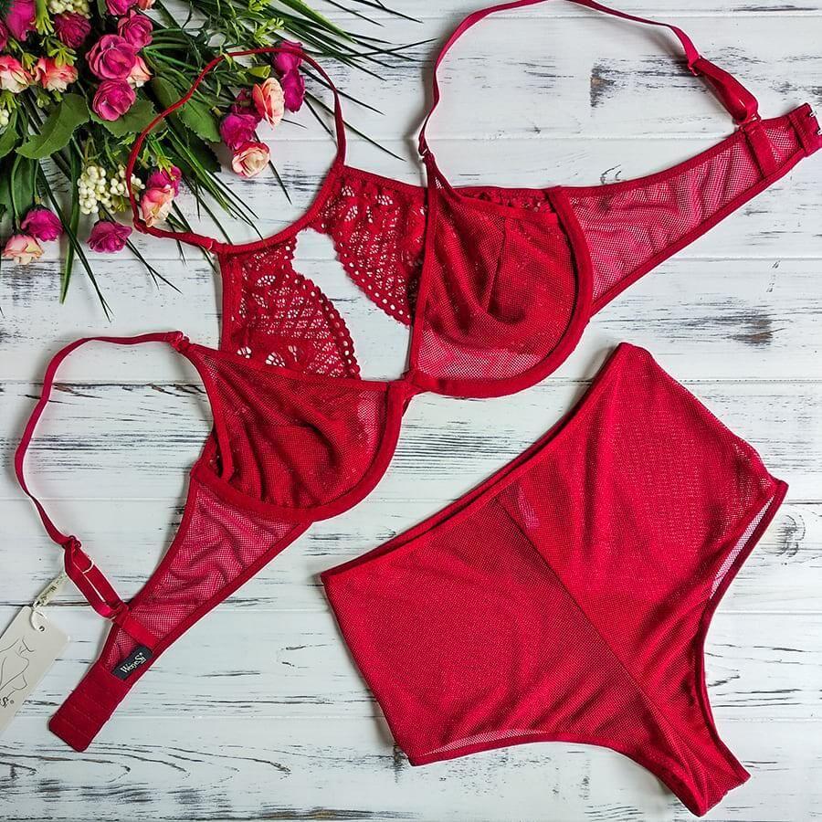 Weiyesi 8476-3 B Красный - комплект женского белья