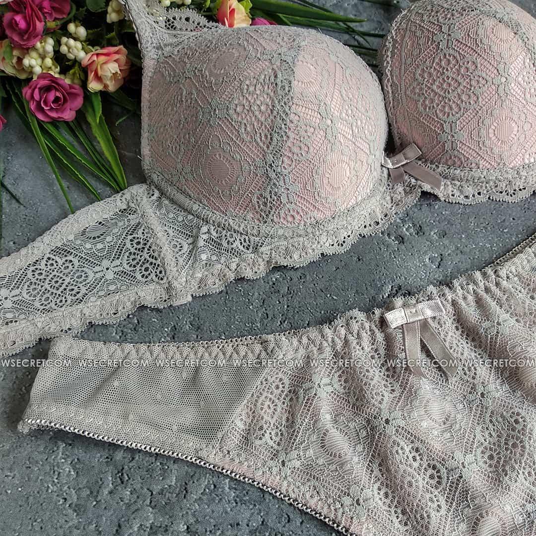 Weiyesi 7006 B Серо-розовый - комплект нижнего белья-кружево